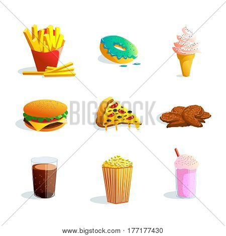 Fastfood cartoon icons set with ice cream popcorn pizza hamburger fried potato donut products flat vector illustration