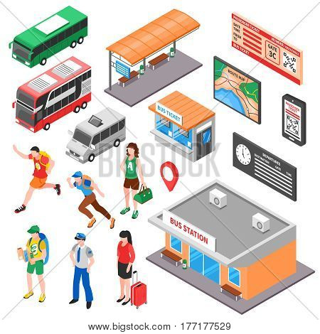 Bus terminal isometric set with tourists ticket office and platform vehicles route and timetable isolated vector illustration