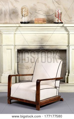 Art Deco Style Upholstered White Armchair