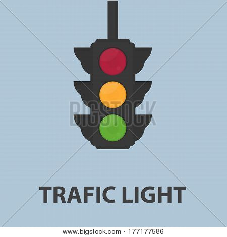 Flat Traffic Light With Three Color Sign