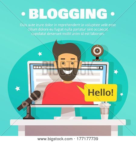 Blogger composition with flat images of desktop computer web camera and microphone with male character on screen vector illustration