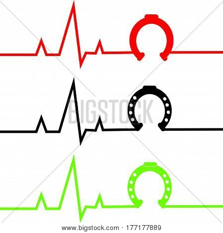 ECG with horse shoe on white background. Vector illustration