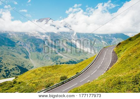 Scenic surroundings near the Grossglockner High Alpine Road. Great and gorgeous day scene. Famous tourist attraction. Location place Hochtor Pass, Salzburg Austria Europe. Explore the world's beauty.