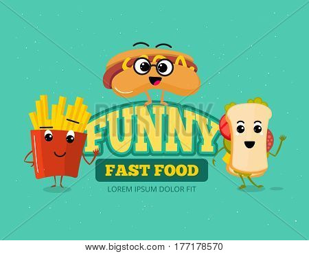 Happy fast food comic characters vector background. Fast food cartoon sandwich and hot dog, illustration of funny fast food