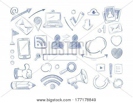 Social media network vector doodles, internet computer hand draw icons. Set of sketch social media, illustration of drawing element social network