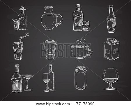 Doodle drinks, wine, beer, bottles. hand drawn beverages vector collection. Alcohol beverage, illustration of drawing sketch alcohol drinks