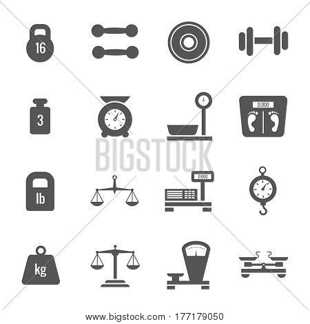 Weight scales, balance, heavy luggage, kilogram vector icons. Set of scales and weight, illustration of monochrome scale