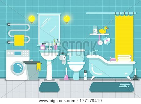 Bathroom home interior with shower, bath and washbasin vector illustration. Bathroom with washbasin and toilet, design of bathroom with mirror and wash machine