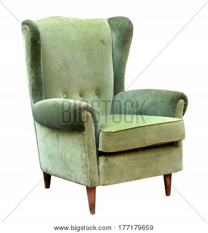 Green Velvet Armchair With High Back