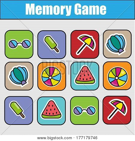 Educational children game, kids activity. Memory game, summer holidays theme. Find pairs of same images