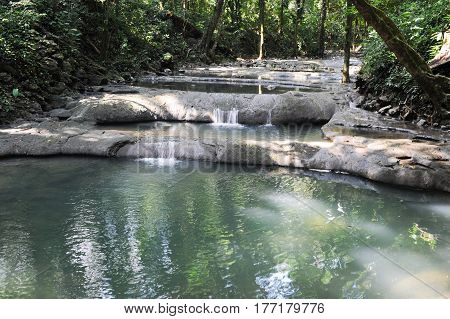 Waterfalls Of Siete Altares On The Forest At Livingston