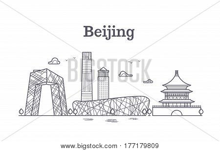 China beijing line panoramic skyline vector illustration. Beijing city panoramic, famous architecture of beijing