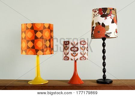 Three Vintage Table Lamps With Colorful Shades