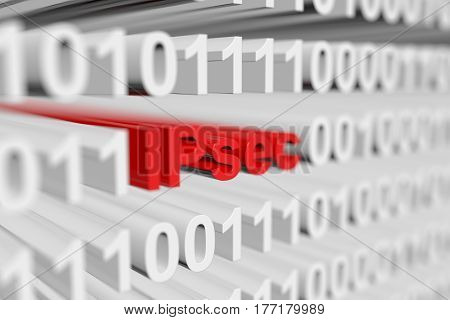 IPsec as a binary code with blurred background 3D illustration