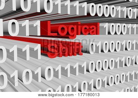 Logical shift in a binary code 3D illustration