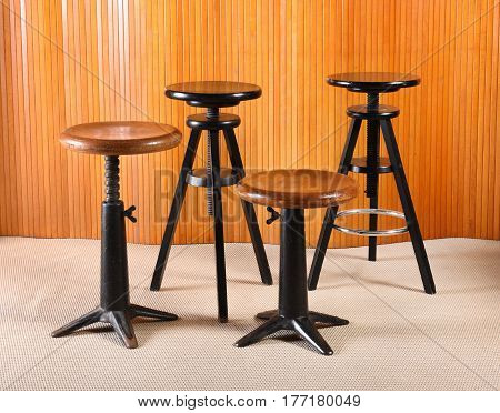Old Wood And Iron Revolving Stools