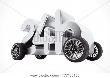 24 Hours Service and Delivery Concept on Wheels on a white background. 3d Rendering.
