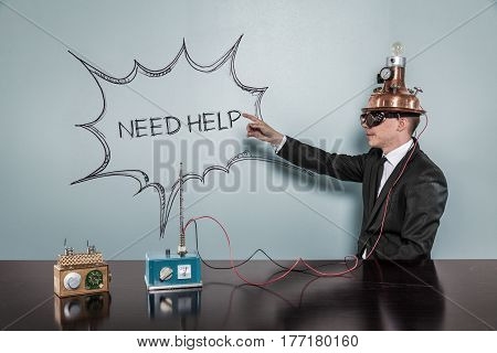 Need Help concept with vintage businessman pointing hand