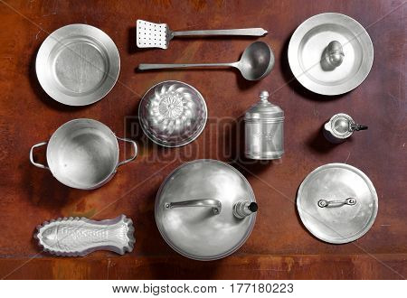 Still Life Arrangement Of Aluminium Kitchen Tools