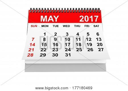 2017 year calendar. May calendar on a white background. 3d rendering
