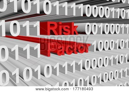 Risk factor in the form of binary code, 3D illustration