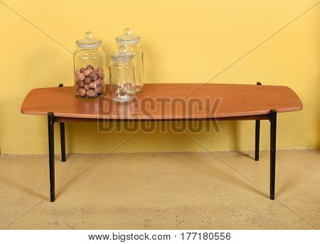 Antique Wood Coffee Table With Glass Jars
