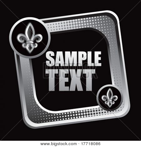 fleur de lis tilted silver checkered web button