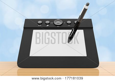 Digital Graphic Tablet with Pen on a wooden table. 3d Rendering.