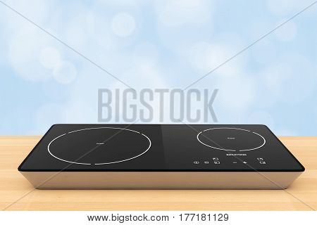 Mobile Portable Induction Cooktop Stove on a wooden table. 3d Rendering.