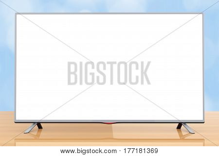 Modern Flat Led or Lcd TV on a wooden table. 3d Rendering.