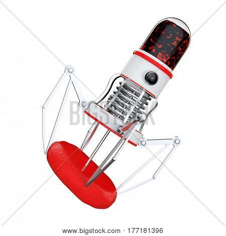 Blood Nano Robot with Camera Claws and Needle over Blood Cell on a white background. 3d Rendering.