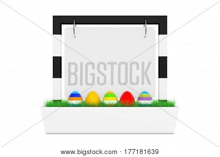 Row of Easter Eggs in Blank Outdoor Banner Desk Display with Grass on a white background. 3d Rendering.