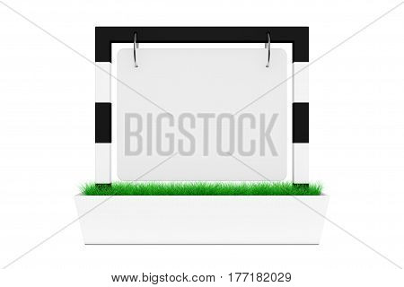 Blank Outdoor Banner Desk Display with Grass on a white background. 3d Rendering.