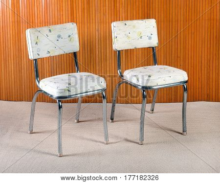 Pair Of Vintage Metal And Patterned Kitchen Chairs