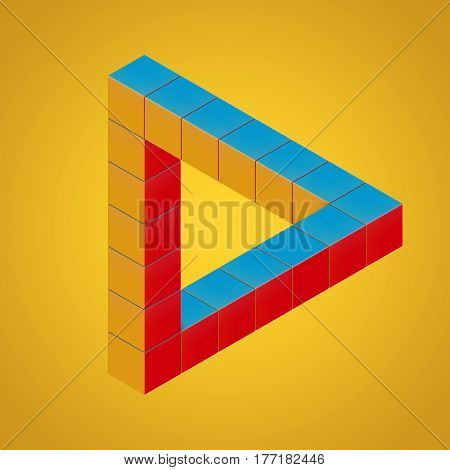 Multicolor Impossible Looped Triangle Illusion Made with Cubes on a orange background. 3d Rendering.
