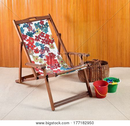 Wooden Canvas Beach Or Deck Chair