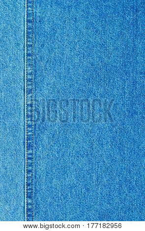 Blue Jeans Cloth With Seam Background Texture Copyspace.