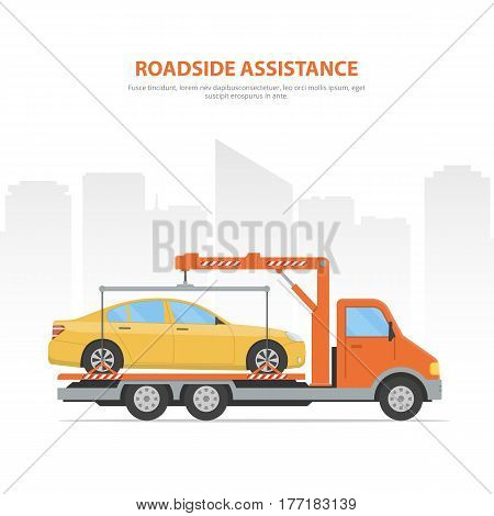 Cartoon banner roadside assistance. City skyline and tow truck with loaded car on the white background. Vector Illustration in flat style.