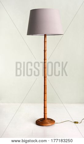 Floor Lamp With Bamboo Base And Pale Purple Shade
