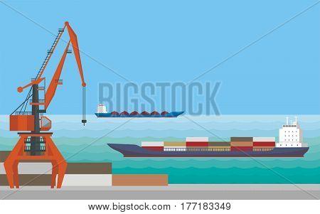 Port Crane And Ships.eps