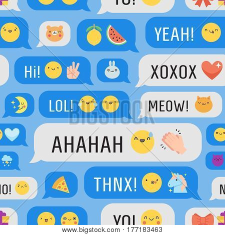 Messages with cute emoji and text seamless vector pattern.