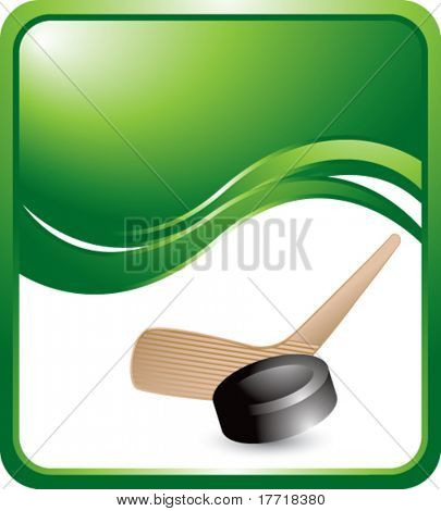 hockey stick and puck green wave backdrop