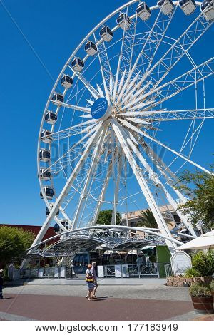 Cape Town South Africa - March 02 2017: The Cape Wheel at the V&A Waterfront in Cape Town