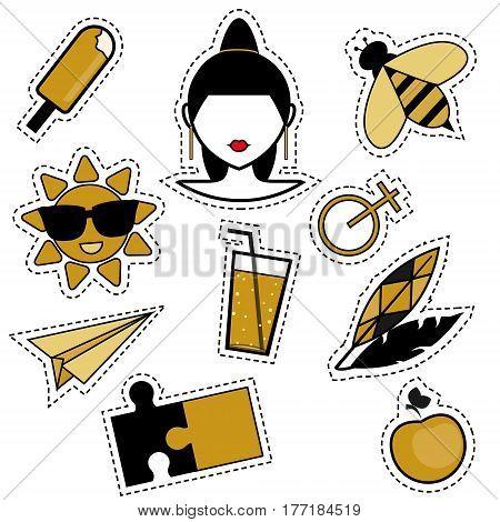Trendy fashionable pins patches badges stickers flash tattoos in black and golden colors. Isolated design elements for woman and girls. Trendy style