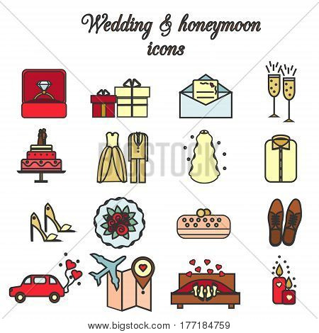 Wedding marriage engagement honeymoon vector icons set. Bridal and groom theme. Isolated design elements.