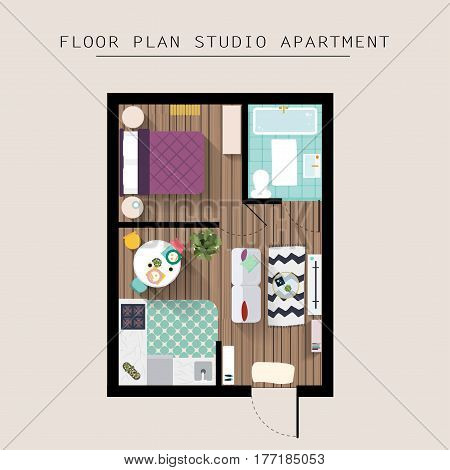Detailed apartment furniture overhead top view. Studio Apartment With One Bedroom. Flat style vector illustration.