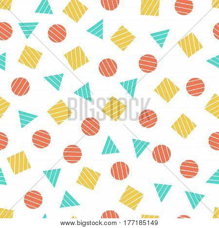 Seamless primitive geometric patterns for tissue and postcards. Trendy hipsters modern color background. Trendy geometric elements memphis card. Vector illustration