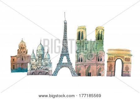City of Paris Skyline famous landmarks travel and tourism waercolor illustration.