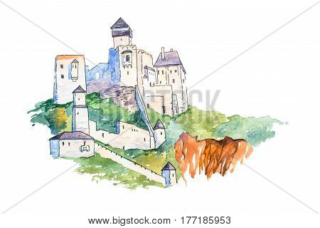 Trencin Castle on top of the hill famous landmarks travel and tourism watercolor illustration.