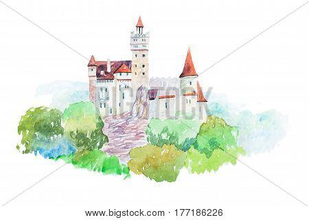 Dracula medieval Castle Bran famous landmarks travel and tourism watercolor illustration.